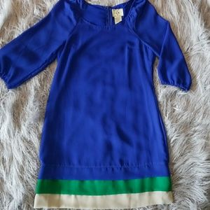 Blue shift dress with 3/4 Sleeve